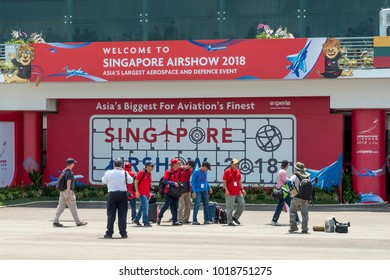 Singapore - Feb 06 2018: The Singapore Airshow, formerly known as Changi International Airshow, is a biennial aerospace event. Wide range of activities from static aircraft and breathtaking aerobatic.