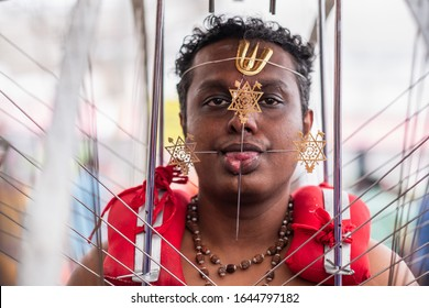 Singapore Feb 08 2020: Common activities of Hindu devotees during Thaipusam Festival celebration.