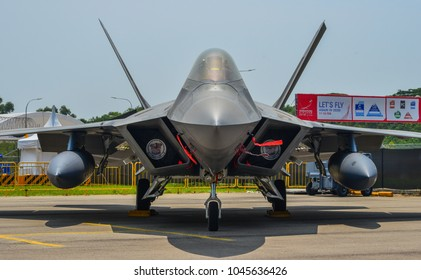 Singapore - Feb 10, 2018. Lockheed Martin F-22 Raptor aircraft belong to the US Air Force sits on display in Changi, Singapore.