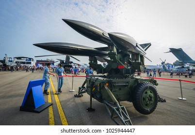 Singapore  - Feb 10, 2018. A Raytheon MIM-23 Hawk (i-Hawk) missile system belong to the Singapore Air Force sits on display at the 2018 Singapore Airshow.