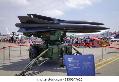 Singapore - Feb 10, 2018. A Raytheon MIM-23 Hawk (i-Hawk) missile system belong to the Singapore Air Force sits on display in Changi Airbase.