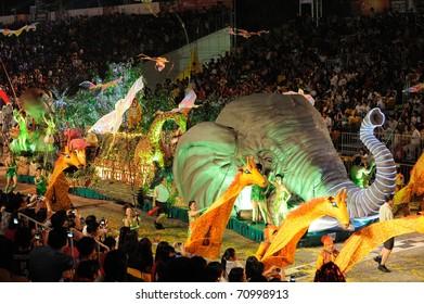SINGAPORE - FEB 11 : chingay 2011 parade singapore, celebrates Lunar New Year at pit building Feb 11, 2011 in Singapore.