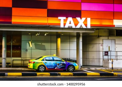 Singapore - Feb 12, 2019: Taxi waiting at TAXI stand of IMM Singapore Outlet Mall.