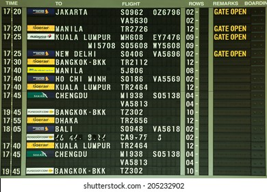 SINGAPORE - FEB 13,2014: Flight information in Changi Airport singapore on Feb 13, 2014 in Singapore.changi International Airport has been voted as the Best Airport in the world.