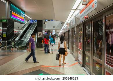 SINGAPORE - FEB 16,2014: View of electric train station on Feb 16, 2014 in Singapore. electric train of singapore Operations by Mass Rapid Transit Singapore (MRT)