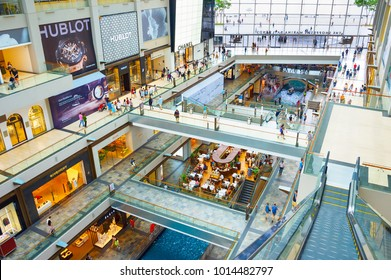 SINGAPORE - FEB 17, 2017: Shopping mall at Marina Bay Sands Resort in Singapore. It is billed as the world's most expensive standalone casino property at S$8 billion