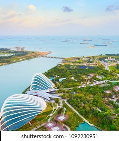 SINGAPORE - FEB 17, 2107: aerial view of Garden by the Bay and Singapore harbor. Garden by the Bay is the famous tourist attraction in Singapore.