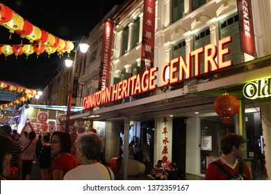 Singapore, Singapore - Feb 2017: Building exterior of Chinatown Heritage Centre surrounded by Chinese New Year lantern decorations.