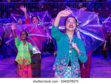 SINGAPORE - FEB 24 : Participants in the Chingay parade in Singapore on February 24 2018. The Chingay is an annual street parade and it is part of the Chinese New Year festivities