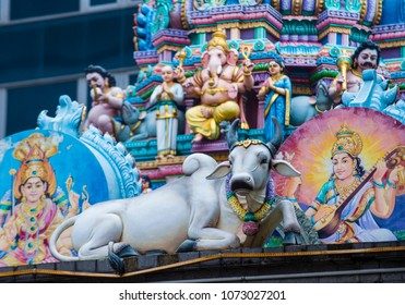 SINGAPORE - FEB 24 : Statues in Sri Veeramakaliamman temple in Little India, Singapore on February 24 2018 It is one of the oldest temples in Singapore.