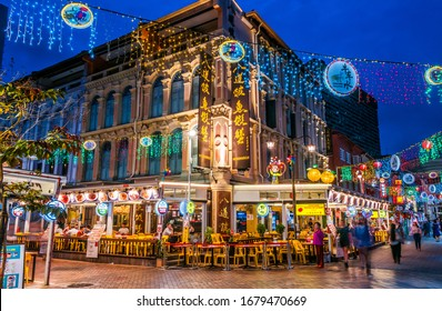 SINGAPORE - FEB 29, 2020: Pagoda Street in Chinatown district of Singapore at night