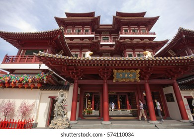 SINGAPORE - FEB 4TH, 2017 - The Buddha Tooth Relic Temple located in Singapore Chinatown is decorated for the Chinese New Year celebrations. It was built to house the tooth relic of the Buddha.