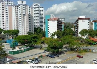 Singapore, Singapore - Feb 5, 2015 : High Angle View of old public housing at Taman Jurong taken on Feb 05, 2015