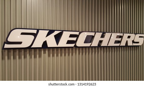 Singapore , Singapore - Feb 5 2019: Skechers USA, Inc. is an American lifestyle and performance footwear company. Headquartered in Manhattan Beach, California, the brand was founded in 1992.