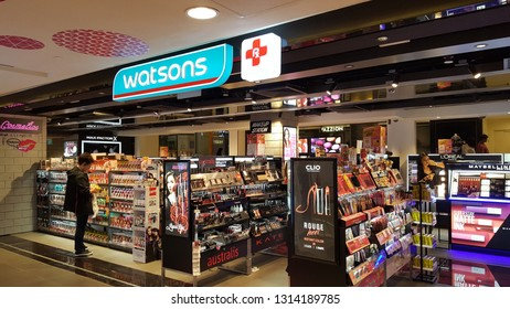 Singapore , Singapore - Feb 5 2019: Watsons store in shopping mall is the largest health care and beauty care chain store in Asia.