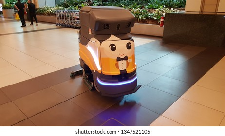 Singapore , Singapore - Feb 7 2019: Automatic floor cleaner robot found in Changi Airport, Singapore