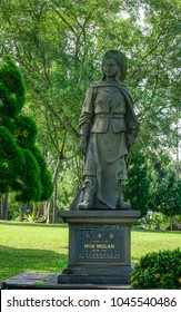 Singapore - Feb 8, 2018. Hua Mulan statue at Chinese Garden in Singapore. Hua Mulan is a legendary woman warrior in Chinese history.