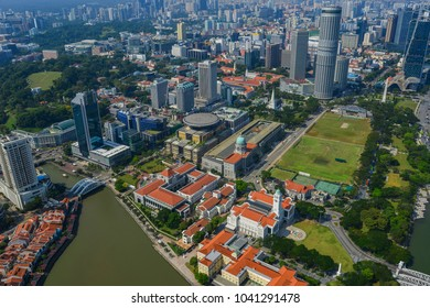 Singapore - Feb 9, 2018. Aerial view of business district with the river in Singapore. Singapore is a global commerce, finance and transport hub.