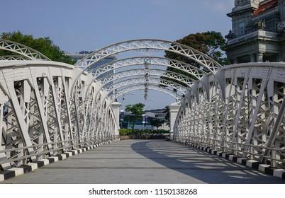 Singapore - Feb 9, 2018. Cavenagh Bridge over the Singapore River. The Bridge is the only suspension bridge and one of the oldest bridges in Singapore.