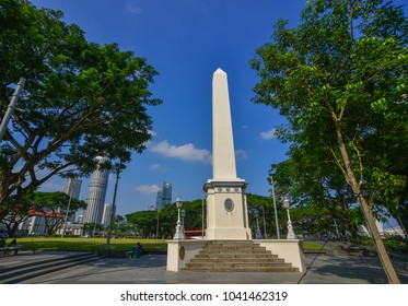 Singapore - Feb 9, 2018. Dalhousie Obelisk, a memorial obelisk in the Civic District of Singapore.