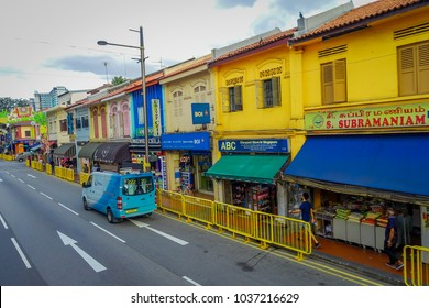 SINGAPORE, SINGAPORE - FEBRUARY 01, 2018: Above view of unidentified people walking at Little India district in Singapore. It's Singaporean neighbourhood east commonly known as Tekka
