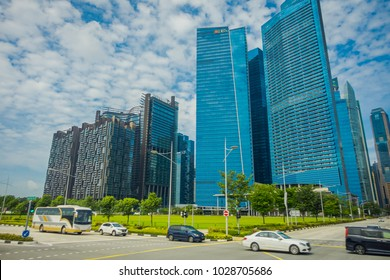 SINGAPORE, SINGAPORE - FEBRUARY 01, 2018: DBS bank Marina Bay Financial Centre. DBS bank was set up by Government of Singapore and is the largest bank in Southeast Asia