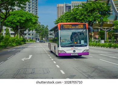 SINGAPORE, SINGAPORE - FEBRUARY 01, 2018: Outdoor view of bus public transport. SBS Transit Limited is a of the largest public transport operator in Singapore