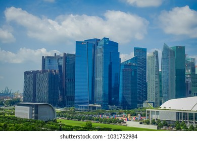 SINGAPORE, SINGAPORE - FEBRUARY 01, 2018: A view of the top of DBS Asia Central at Marina Bay Financial Centre in Singapore
