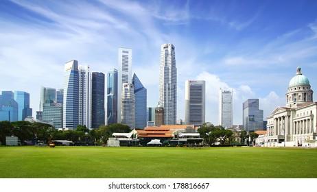 SINGAPORE - FEBRUARY 03, 2014: Singapore skyline. View includes next buildings: DBC, HSBC, Maybank, Capital, Overseas Bank, OUB, UOB Plaza One, OSBC, SingTel, One George Street, Supreme Court and ect