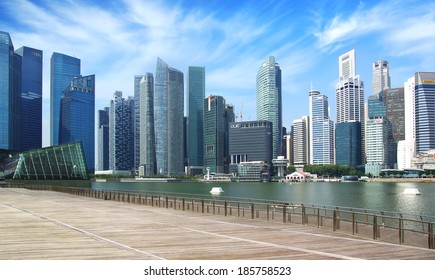 SINGAPORE - FEBRUARY 04, 2014: Downtown Singapore from Marina Bay. View includes next buildings: Louis Vuitton Island, DBC, HSBC, Maybank, Capital Tower, OUB Centre, UOB Plaza1, OSBC, SingTel and ect