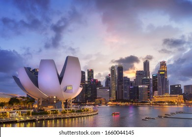 SINGAPORE - FEBRUARY 1: Lotus Architecture located around Marina Bay, Marina Bay is bay located in the Central Area of Singapore with city building are background on February 1, 2020 in Singapore.