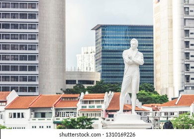 Singapore / Singapore - February 10 2019: Singapore bicentennial Sir Stamford Raffles statue close up at Boat Quay Raffles Place during day time