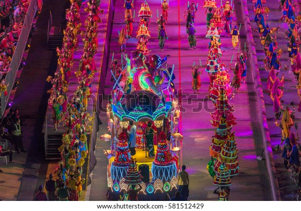 Singapore, Singapore - February 11, 2017 : Chingay festival 2017 at Singapore. This National Event is also the largest street performance and float parade in Asia