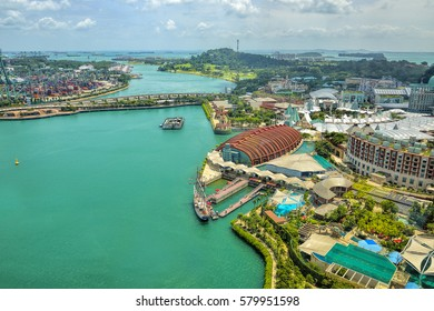 SINGAPORE - FEBRUARY 11, 2017: Day view of Sentosa island  in Sentosa, Singapore. Sentosa is a popular island resort in Singapore with more than 5 million visitors per year.