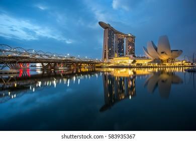 SINGAPORE - February 11, 2017 :The Helix bridge with Marina Bay Sands in background, Singapore