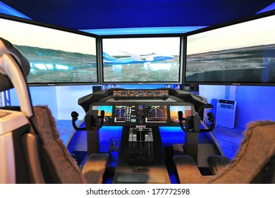 SINGAPORE - FEBRUARY 12: Boeing 787 Dreamliner cockpit demonstrator at Singapore Airshow February 12, 2014 in Singapore