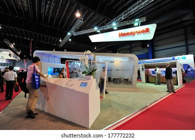 SINGAPORE - FEBRUARY 12: Honeywell booth showcasing avionics products at Singapore Airshow February 12, 2014 in Singapore