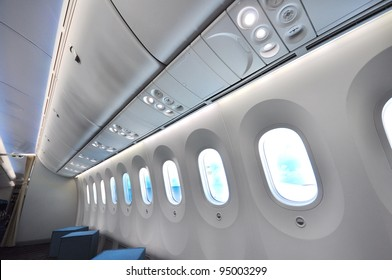 SINGAPORE - FEBRUARY 12: Larger windows with electronic shades in a Boeing 787 Dreamliner at Singapore Airshow February 12, 2012 in Singapore