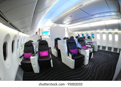 SINGAPORE - FEBRUARY 12: Luxurious business class seats in the new Boeing 787 Dreamliner at Singapore Airshow February 12, 2012 in Singapore
