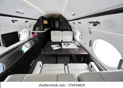 SINGAPORE - FEBRUARY 12: Luxurious interior of Gulfstream G450 executive jet at Singapore Airshow February 12, 2014 in Singapore