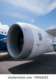SINGAPORE - FEBRUARY 12: One of the two Rolls Royce Trent 1000 engines of the Boeing 787 Dreamliner at Singapore Airshow in Singapore on February 12, 2012.