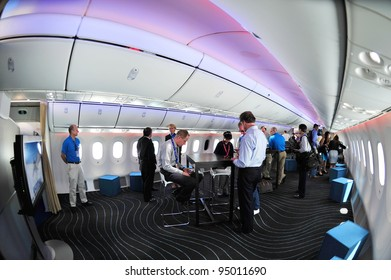 SINGAPORE - FEBRUARY 12: Open space in Boeing 787 Dreamliner cabin at Singapore Airshow February 12, 2012 in Singapore