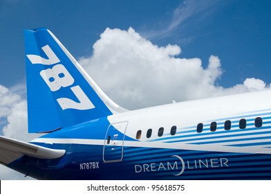 SINGAPORE - FEBRUARY 12: Rear detail of Boeing 787 Dreamliner at Singapore Airshow in Singapore on February 12, 2012.
