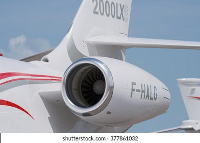 Singapore - February 14, 2016: Tail detail of the French, twin engine Dassault Falcon 2000LXS at Singapore Airshow at Changi Exhibition Centre in Singapore.