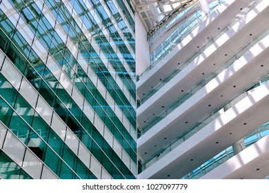 Singapore - February 14 2018: An interior perspective view of the lobby at Solaris, an office building located in the Fusionopolis hub in central Singapore's one-north business park