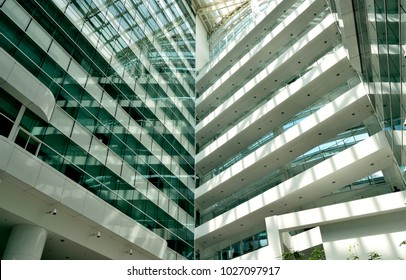 Singapore - February 14 2018: The interior of the lobby at Solaris, an office building located in the Fusionopolis hub in central Singapore's one-north business park