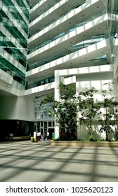 Singapore - February 14 2018: The lobby at Solaris, an office building located in the Fusionopolis hub in central Singapore's one-north business park