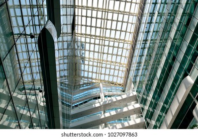 Singapore - February 14 2018: A perspective view of the inside of the lobby at Solaris, an office building located in the Fusionopolis hub in central Singapore's one-north business park