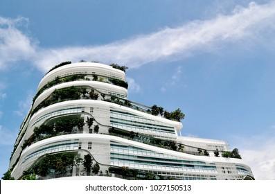 Singapore - February 14 2018: Solaris office building at Fusionopolis industrial park