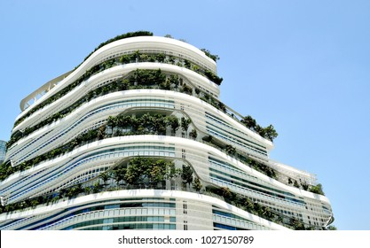Singapore - February 14 2018: Solaris office building at Fusionopolis industrial park at One North.